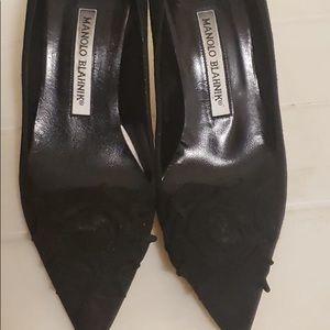 Manolo Blahnik Black Velvet Pumps